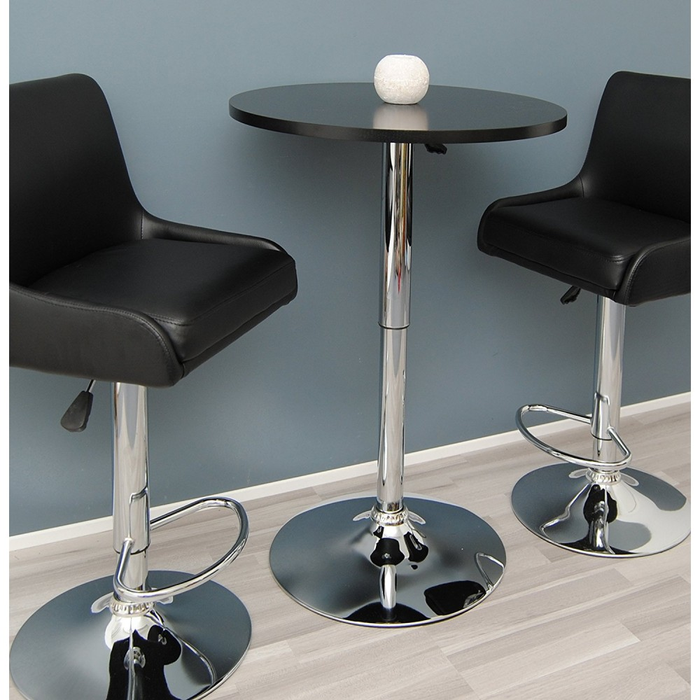 Height-adjustable cocktail table with black top
